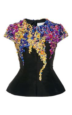Embellished Wool and Silk-Blend Top by OSCAR DE LA RENTA Now Available on Moda Operandi