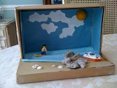 ocean themed kleenex box crafts | Rainforest Animals Diorama