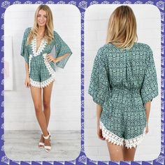 NWT Mint Brocade romper with lace detailing 🎀 Beautiful mint brocade romper with lace detailing. 🎀 Bell shape 3/4 length sleeves 🎀 Side slit open shorts 🎀 Deep V neck with lace detailing 🎀 Would be great with a cami underneath as a bathing suit cover-up or by itself if you're brave enough! 🎀 Elastic at waist to show off your figure 🎀 Beautiful item to add to your summer wardrobe. See 4th pic for up close details. No trades, holds or PP. comes from a smoke free home. Price firm except…