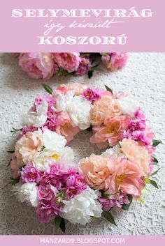 DIY silkflower wreath - tutorial I Tavaszi selyemvirág koszorú - így készült I Manzard9 Floral Wreath, Wreaths, Diy, Flowers, Projects, Decoration, Home Decor, Log Projects, Decor