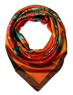 "corciova 35"" Women's Neckerchief Satin Smooth Scarf for Hair Wrapping at Night Brown Orange $9.99 Free Shipping"