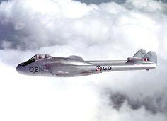 Canadian De Havilland Vampire in flight, 1953 De Havilland Vampire, Military Jets, Military Aircraft, Stol Aircraft, Canadian Army, Air Force Aircraft, Of Montreal, Royal Air Force, Fighter Jets