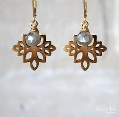 Flower and Labradorite Earrings by ATELIERGabyMarcos on Etsy, $59.00