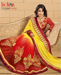 Groovy Yellow & Red saree