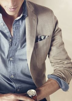* Color scheme * Casual, yet classy * Watch *Chambray