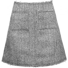 Isa Arfen - Grey Skirt - Skirts ($290) ❤ liked on Polyvore featuring skirts, mini skirts, gray skirts, woolen skirt, grey wool skirt, short grey skirt and high-waist skirt