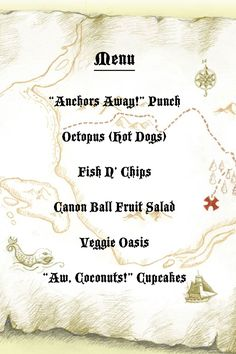 Pirate Party Menu
