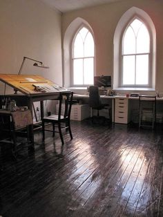A church converted into a house. This office space features an amazing wooden floor. Philadelphia- Rough Linen Contributor, Kim