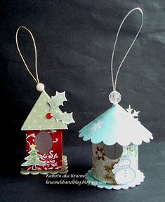 mini birdhouse - ornaments This might be a shoebox oranment craft House Ornaments, Handmade Ornaments, Christmas Tree Ornaments, Christmas Decorations, Noel Christmas, Christmas Paper, All Things Christmas, Winter Christmas, Diy Paper