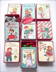 Set of 12 Small Retro Children Matchboxes DIY Kit. $8.00, via Etsy. #christmas