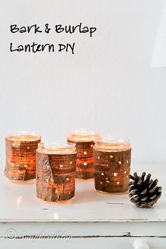 bark and burlap lanterns DIY project for Fall