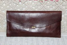 Large Leather Italian Clutch, Brass Snap, Credit Cards,Photos,Pen, Change Compartments & More by TouchofClassic on Etsy