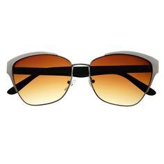 Sleek Womens Fashion Half Frame Metal Cat Eye Sunglasses C1470