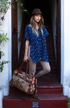 Blue Indigo Cotton Japanese Vintage Ikat Tunic by TavinShop