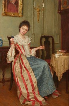 Circle Of George Sheridan Knowles - Interior Scene with lady winding wool