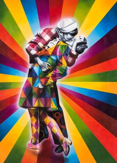 The kiss. Street art in New York, by Eduardo Kobra – Streetart, Graffiti Kobra Street Art, Grafitti Street, Graffiti Wall Art, Mural Art, Art Du Monde, Coat Of Many Colors, Trash Art, Amazing Street Art, Arte Pop