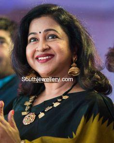 Radhika Saratkumar in a black thread necklace