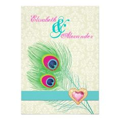 Peacock feather with jewel heart pink turquoise wedding invitation