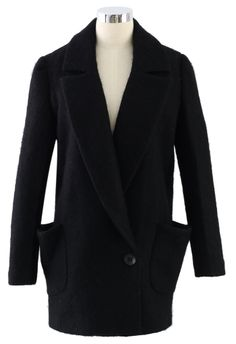 ++ Black Wool One-Button Pea Coat