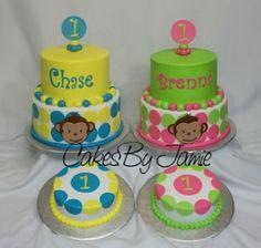 Mod Monkey Twins first birthday! Monkey Birthday Cakes, Monkey Birthday Parties, 1st Birthday Cakes, Twin First Birthday, Baby Birthday, Birthday Ideas, Cupcakes, Cupcake Cakes, Twins 1st Birthdays
