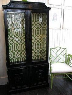 next project: paint hutch high gloss black with green trellis wallpaper or stencil for dining room