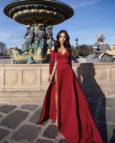 Satin evening dresses - Off The Shoulder Satin Burgundy Long Sleeved Evening Dress With High Slit Prom Dresses – Satin evening dresses Pretty Dresses, Sexy Dresses, Beautiful Dresses, Summer Dresses, Dresses For Parties, Glamour Dresses, Casual Dresses, Casual Outfits, Holiday Dresses