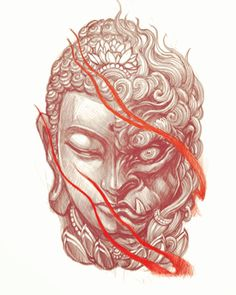Buddha/FudoYou can find Irezumi tattoos and more on our website. Foo Dog Tattoo Design, Buddha Tattoo Design, Tattoo Design Drawings, Tattoo Sketches, Sketch Drawing, Snake Sketch, Japanese Demon Tattoo, Japanese Sleeve Tattoos, Buddha Tattoos