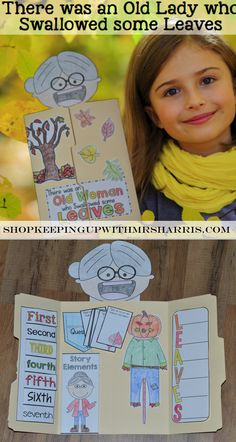 Would you like to have some fun and add engagement while reading There was an Old Lady who Swallowed Some Leaves? This There was an Old Lady who Swallowed Some Leaves lapbook activity is sure to be a favorite to add to your fall unit. The lapbook includes activities to practice sequencing, identifying story elements, writing an acrostic, and answering comprehension questions.