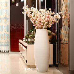 Source Pure white lines pattern large floor vases sale for hotel deco on m.alibaba.com