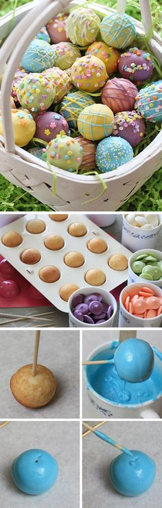 Skinny Easter Egg Cake Balls | Click Pic for 30 Easy Easter Desserts for Kids to Make | Easy Easter Treats for School Parties