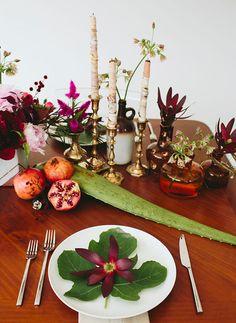 leaf + floral plate setting