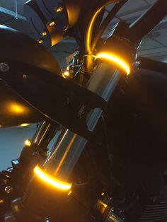 Wrap Around LED Fork Turn Signal Kit from MBW installed on their Triumph Scrambler. Cafe Racer Parts, Cafe Racer Build, Moto Cafe, Cafe Bike, Motorcycle Lights, Cafe Racer Motorcycle, Custom Motorcycles, Custom Bikes, Motorcycle Sounds
