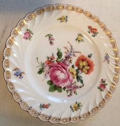 Antique Dresden Plate Hand Painted Flowers 19 Cm Across Vgc