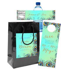 $70 for 20 #PeacockWedding #WelcomeBag Sets with #HospitalityBag #DoorHanger & #WaterBottleLabel for #WeddingFavors & #GoodyBags by http://www.bestwelcomebags.com