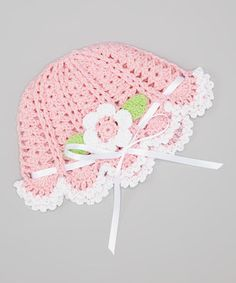Love this Pink and Blue Knitwear Pink & White Flower Crocheted Beanie by Pink and Blue Knitwear on #zulily! #zulilyfinds