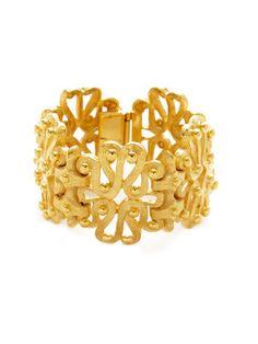 Ben-Amun Gold Floral Cutout Cuff Bracelet