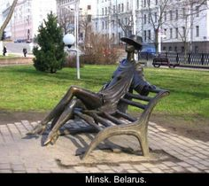 """Minsk, Belarus.  """"Minchanka"""" (""""A Girl from Minsk"""") has become a familiar sight to the passers-by in Mychailovsky Avenue which stretches behind the city mayoralty not far from Central Railway Station. A bronze figure of a long-legged girl sitting on a bench adds special charm to this place and attracts attention of both citizens and guests of the city. Vladimir Zhbanov says the model was a ballerina. At that time he could hardly imagine that the sculpture would decorate the city."""