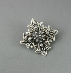 Vintage Sterling Maltese Cross Pendant Brooch Pin 925 Filigree Raised Etruscan in Pins, Brooches | eBay