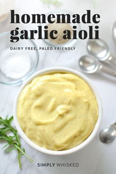 This easy homemade aioli recipe only takes two minutes and will forever change the way you think about mayonnaise and aioli. Garlic Aoli Recipe, Pesto Recipe, Roasted Garlic Aioli, Garlic Mayo, Mayonnaise Recipe, Homemade Aioli, Homemade Tartar Sauce, Aioli Sauce, Mayo Sauce