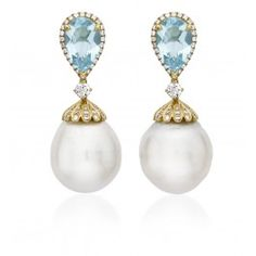 Blue Topaz Diamond and Pearl Drop Earrings