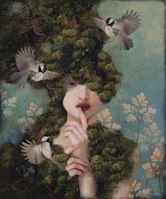 Daria Petrilli, Nocturne, Green, Artist, Instagram, Illustrations, Paintings, Ink, Red