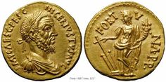 Gold aureus: Pescennius Niger Obverse: IMP CAES C PESC NIGER IVSTVS AVG, Laureate, draped and cuirassed bust right. Reverse: .I.O. .M. P.P retrograde, Jupiter, naked to waist, seated left on throne, holding thunderbolt and sceptre.