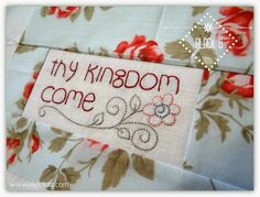 Free embroidery -block 6 of The Lords Prayer quilt by Jenny of Elefantz Designs. Instant pdf download...