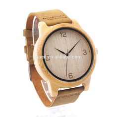 HOT! 2017 New Arrival Unisex Bamboo Wooden Watch Japanese 2035 Movement Quartz Genuine Leather Wood watch