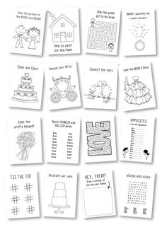 Kindertisch: Malbuch wedding favors Wedding activity book for Kids / wedding coloring book / rustic wedding favor / kids wedding table / kids wedding activities - Set of 6 Kids Table Wedding, Wedding With Kids, Wedding Table Settings, Kids Wedding Activities, Activities For Kids, Reception Activities, Wellness Activities, Post Wedding, Wedding Book