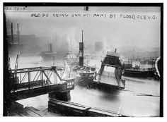 Bain News Service,, publisher.  Bridge being swept away by flood - Cleveland  [between ca. 1910 and ca. 1915]  1 negative : glass ; 5 x 7 in. or smaller.  Notes:  Title from unverified data provided by the Bain News Service on the negatives or caption cards. Forms part of: George Grantham Bain Collection (Library of Congress).  Subjects:  Cleveland  Format:  Glass negatives.  Rights Info:  No known restrictions on publication.  Repository:  Library of Congress, Prints and Photographs…