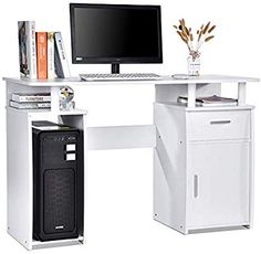 life Computer Desk with Shelve and Cabinet PC Computer Table Workstation,White Office Workstations, Computer Desks, Office Desk, Corner Desk, Shelving, Cabinet, Table, Life, Furniture