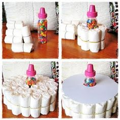 Diaper Cake Tutorial - pretty simple to put together. Time consuming to wrap all the diapers up. And it gets expensive...