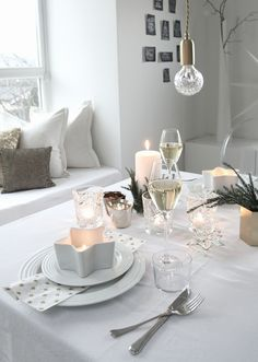 Photo/Styling: by Therese Knutsen - My table settings - New Years Instead Of Flowers, Table Settings, Couch, Table Decorations, Modern, Christmas, Xmas, Furniture, Kitchen Stuff