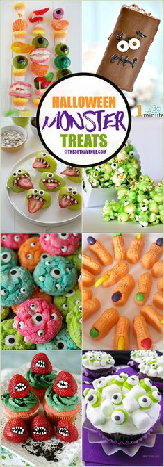 Halloween Recipes - These Halloween Monster Treats are easy to make and super fun to eat. they are perfect for school class parties or any Halloween Party! Halloween Desserts, Halloween Tags, Hallowen Food, Postres Halloween, Hallowen Ideas, Halloween Goodies, Halloween Food For Party, Halloween Birthday, Halloween Cupcakes